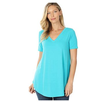Your New Favorite! Classic V Neck Top - Ice Blue