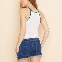 Sporty Indigo Short With Rolled Cuff