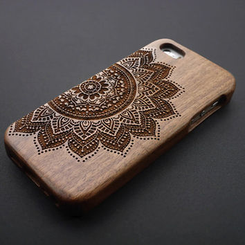 Large Flower Wood iPhone 5 / 5S Case - Personalized Wood iPhone 5S Case - Custom iPhone5 Case Wood , iPhone 5 Case Wood - Samsung Galaxy S5