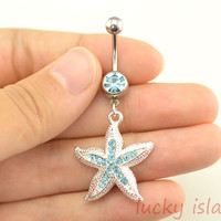 belly rings,starfish belly button jewelry,cute starfish belly button rings,navel ring,piercing belly ring,nautical piercing bellyring
