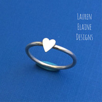 Tall Heart Sterling Silver Wire Stacking Ring- Layered Rings, Simple Silver Ring, Silver Stacking Ring