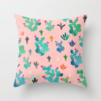 Cactus Desert Pink Dusk Moon Throw Pillow by Crystal ★ Walen