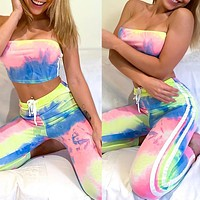 2020 New Women's Wrapped Chest Slim Printed Homewear Set Two Piece Set