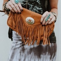Leather Fringed Concho Clutch - Camel