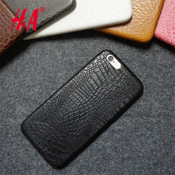 For iphone 6 6s Case Luxury Crocodile Snake Print Leather Cases Back Cover for iphone6 6s Phone Bags Coque Capa