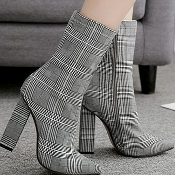 Explosion style hot sale plaid thick heel pointed high heel boots