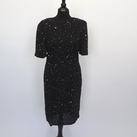 Vintage 1980s Stenay Black Sequin Beaded Silk Dress Mod Shift Short Cocktail Avante Garde Party Dress New Years Eve Flapper 1920s style