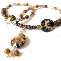 Brown Shell Necklace Topaz Crystal Sterling Silver Mother of Pearl