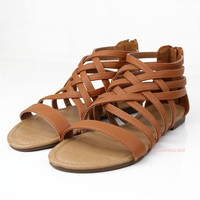 Left In The Dust Tan Strappy Sandals