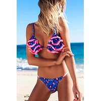 Layered Ruffle Leopard Printed Bikini Swimsuit - Two Piece Set