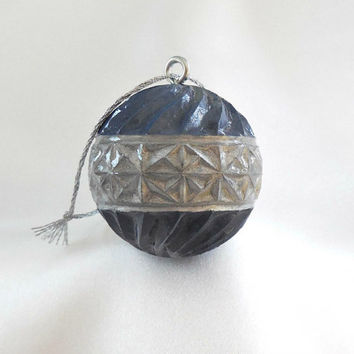 Carved Golf Ball, Christmas Ornament, Unique Golf Gift For Golfer, Golf Lover Gift for Men or Women, Blue and Silver Christmas Ornament