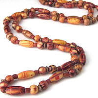 Long Wood Bead Necklace, Wood Print Bead Necklace, No Clasp, Red Brown, Wood Beaded, Extra Long Wood Bead Necklace, Over The Head Necklace