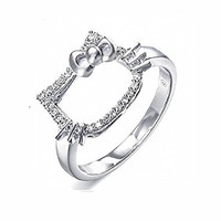 Platinum-plated cute Hello Kitty shaped open tail ring for girls-RSS031