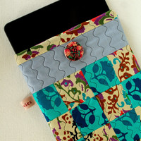 Quilted iPad Sleeves - Unique Teal Blue and Grey patchwork  - Tablet Sleeves - Patchwork quilt gadget sleeves -