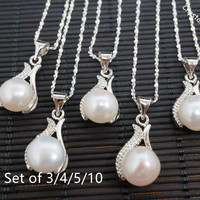 Bridesmaid Necklace Set - Bridesmaid Jewelry - Bridesmaid Gift - Genuine Flawless Freshwater Pearl Necklace -  Pearl Jewelry