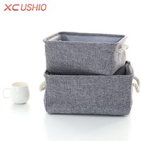 Linen Fabric Clothes Storage Box with Handle Folding Laundry Toy Storage Basket Closet Organizer Household Sundries Sorting Box