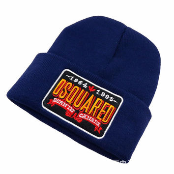 DSQUARED2 BURNIN CANADA Beanie Knitted Cotton Elastic Mens & Women's Casual Warm Winter Navy Blue Cuffed Skully Hat