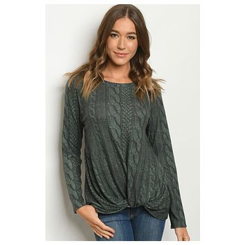 Hello Beautiful! Twist Bottom Cable Knit Illusion Hunter Green Top
