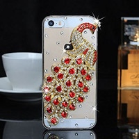 """iPhone 6 Case, MC Fashion Peacock Crystal Rhinestone 3D Diamante Hard Shell Phone Case Compatible for Apple iPhone 6 4.7"""" (2014) ONLY (Red)"""