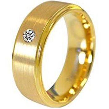 Simple Gold Ring Gold Tone Tungsten Carbide Step Ring With 0.04ct Genuine White Diamond