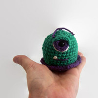 baby blob monster, crochet plush, amigurumi, wool stuffed, cotton, fiber art, sustainable, ecofriendly, mod green, purple