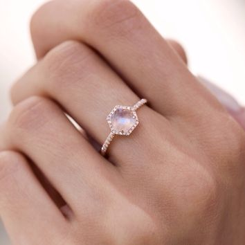 14kt rose gold and diamond moonstone hex ring – Luna Skye by Samantha Conn
