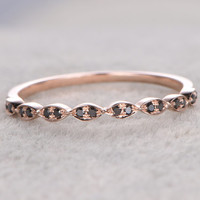Natural Black Diamonds,Half Eternity Wedding Ring,14K Rose gold,Anniversary Ring,Art deco Marquise style,loop,stacking,milgrain