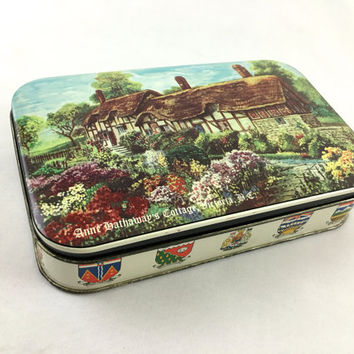 Garden Cottage Hinged Lid Tin Box Anne Hathaway's Cottage Victoria B.C. Collectible Canada Souvenir Storage Tin With Canadian Flags