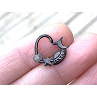 Black Moon Star Spaceship Daith Hoop Ring Rook Hoop Cartilage Helix Tragus