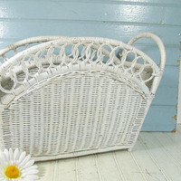 Vintage White Wicker Magazine Rack - Retro Hand Woven Flower Basket - Shabby Chic Carry All