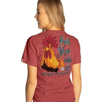 Simply Southern Preppy Hot Mess Rooster T-Shirt