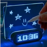ENHANCE Blue LED Digital Alarm Clock Charging 4 Port USB 2.0 Hub & Glowing Memo Board for iPhone 5S , LG G3 , HTC One M8 with Bright Blue LED Time / Date / Temperature Display !