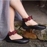 Handmade Womens Leather Loafer Flats With Flowers