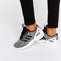 adidas Originals Black Print Zx Flux Sneakers With Side Stripes at asos.com