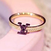LV Louis Vuitton Fashion Women Simple Letter Ring Accessories Fine Jewelry