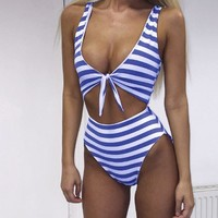 Blue Striped Bow  Swimsuit