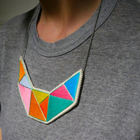 Geometric bib necklace embroidered in mint bright yellow pink blue lavender and orange perfect for Spring