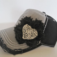 Two Tone Light Grey and Black Trucker Baseball Cap Hat with Black Flower and Beautiful Rhinestone Heart Brooch Accent