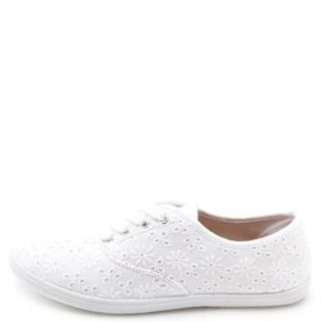 Canvas & Eyelet Lace Sneakers by Charlotte Russe - White