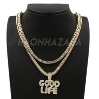Hip Hop GOOD LIFE Pendant W/ Franco Chain / Tennis Choker Chain