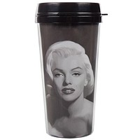 Marilyn Monroe - Black And White Painting Travel Mug