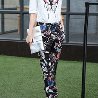 Butterfly Embroidered Top + Printed Drawstring Pants Set