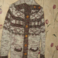 Vintage 80s hipster women brown acrylic wood button up cardigan sz med