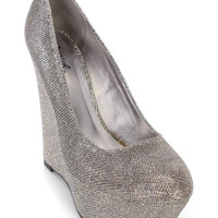 Pewter Round Close Toe Platform Wedge Glitter Shimmer Faux Leather