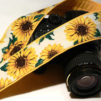 DSLR Camera Strap. Sunflowers Camera Strap. Yellow Camera Strap with flowers. Women Accessories