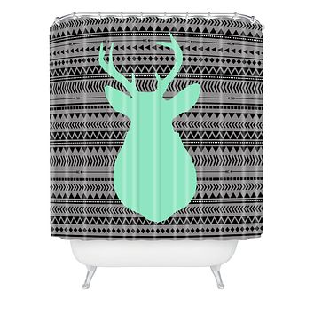Allyson Johnson Deer And Aztec Shower Curtain