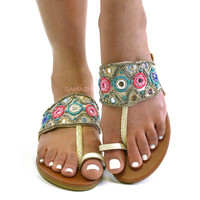 Pismo Beach White Embellished Sandals