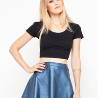 Motel Flute Faux Leather Skirt in Metallic Blue