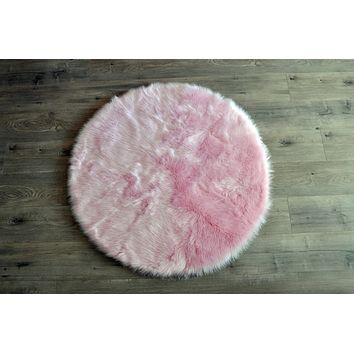 Machine Washable Faux Sheepskin Round Cotton Candy Pink Area Rug