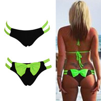 2016 Newly Swimming Briefs Sexy Swimwear Swimsuit Women Bikini Bottom With Big Bow Brazilian Tanga Panty Underwear bas de bikini
